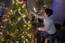 Decorating trees for the Christmas Around the World and Holiday of Lights exhibit @ the Museum of Science and Industry