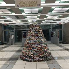 Credit: S.M. O'Connor Caption: This is a Christmas tree made of books in the lobby of the Woodridge Public Library.
