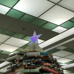 Credit: S.M. O'Connor Caption: This is closeup of the star atop the Christmas tree of books in the lobby of the Woodridge Public Library.