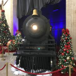 Credit: S.M. O'Connor Caption: This is the headlamp of THE POLAR EXPRESS steam locomotive mock-up in the Great Hall of Chicago's Union Station.