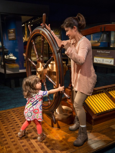 Guests int the Ships Thru the Ages Exhibit at the Museum of Science and Industry, Chicago