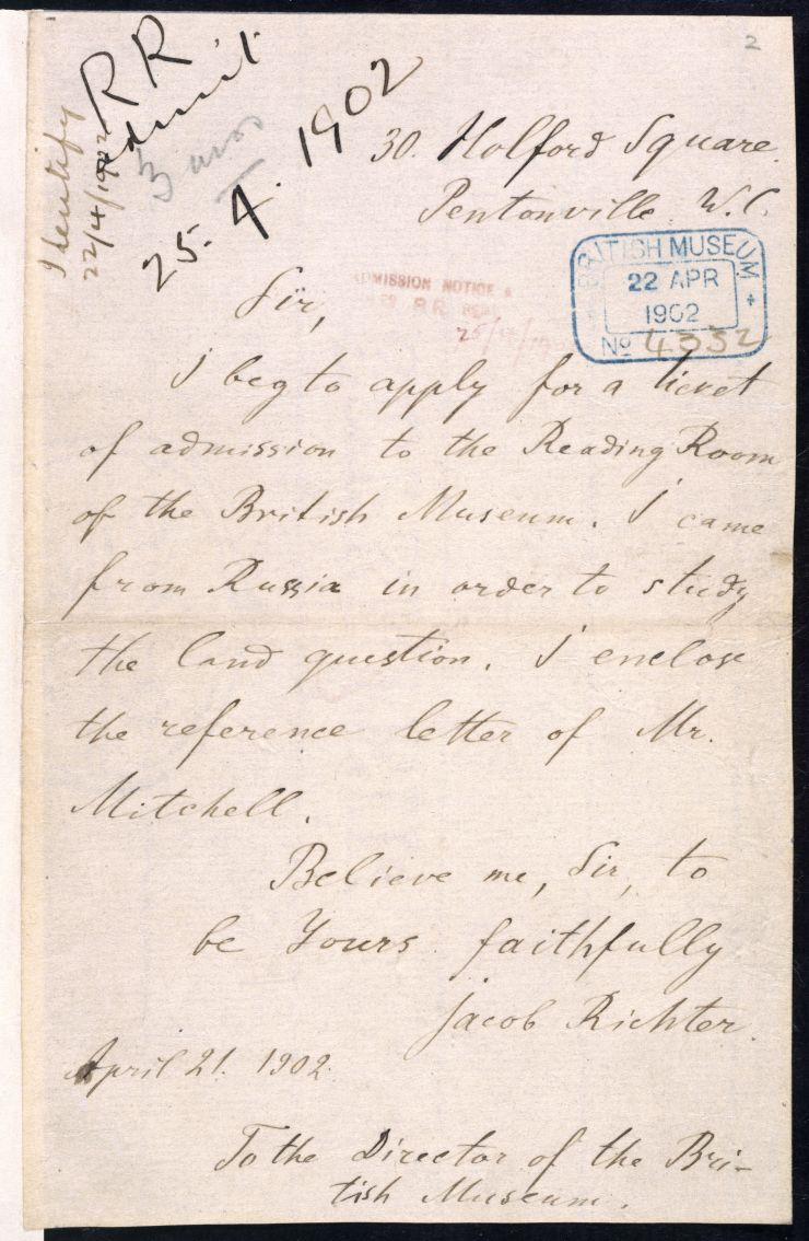 Letter-from-Vladimir-Lenin-requesting-the-use-of-the-Reading-Room-at-the-British-Museum-now-Library-copyright-British-Library