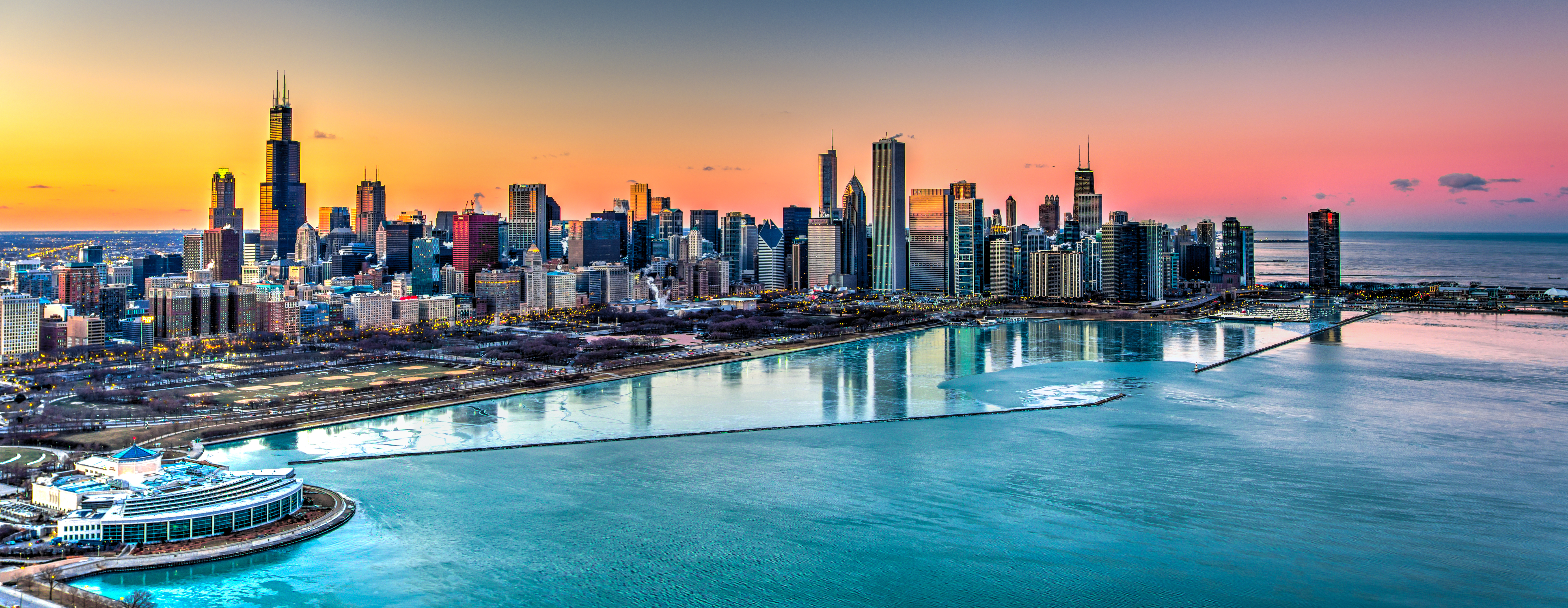 Sunset behind Chicago in the Winter